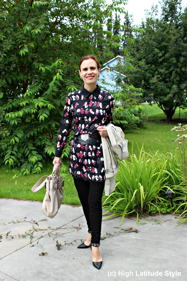 #maturestyle woman wearing the dress-over-pants trend