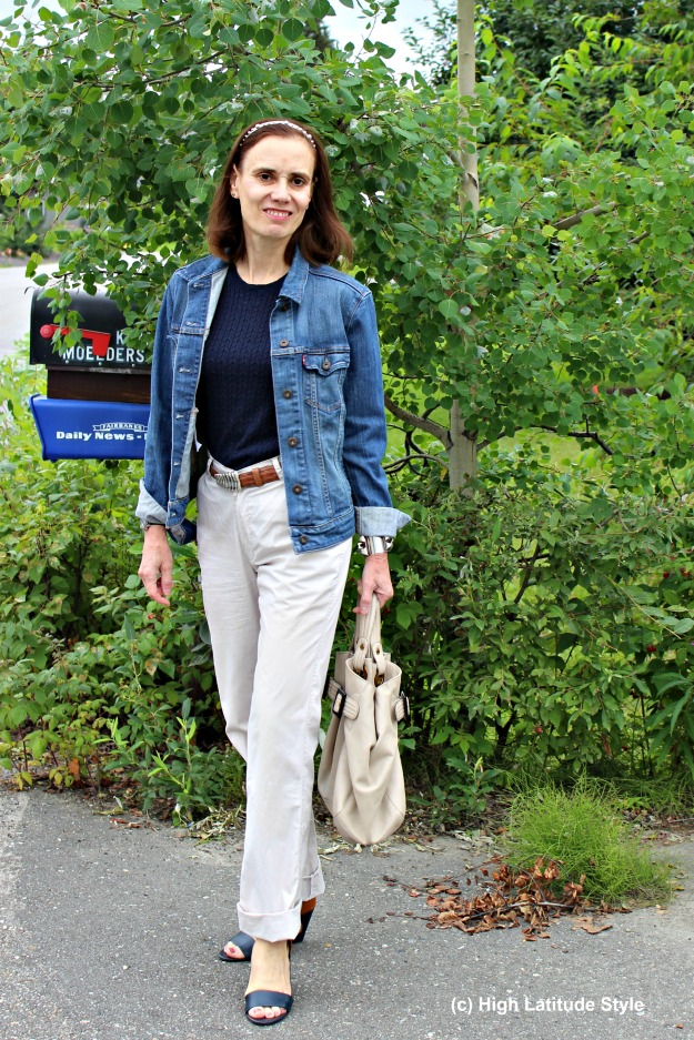 #fashionover50 mature woman in casual work outfit with denim jacket
