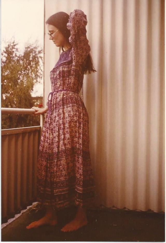 #IndianFashion Me as a teenager wearing an Indian hand painted dress with paisley print that had hints of pink