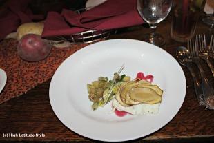 potato root salad on butter lettuce leaves