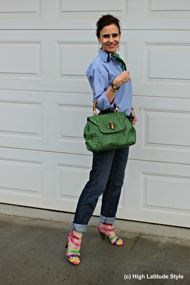 #midlifestyle Casual Friday outfit with Gucci bag and statement heels
