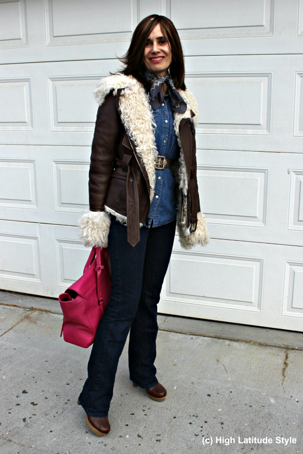 #maturestyle woman in outerwear with shearling motorcycle jacket for hitting the mall