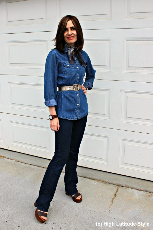 #fashionover50 woman in denim-on-denim casual look suitable for buying new jeans