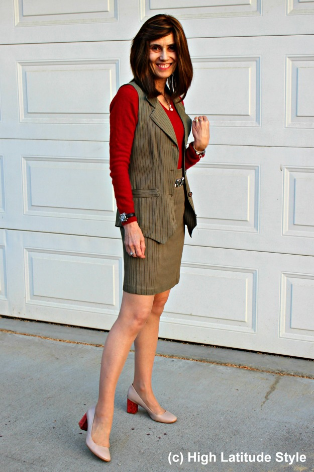 #styleover50 woman in skirt suit