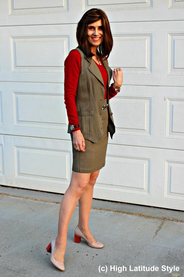 midlife woman looking posh in skirt suit