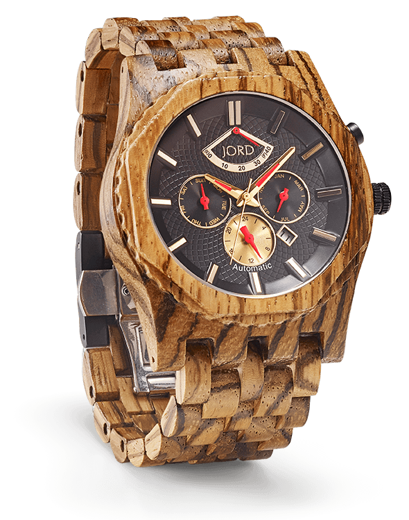 woodenwatch Sawyer wood watch with obsidian dial