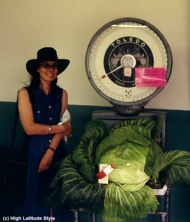#fashionover40 midlife woman looking posh chic in denim shirt dress and leather hat