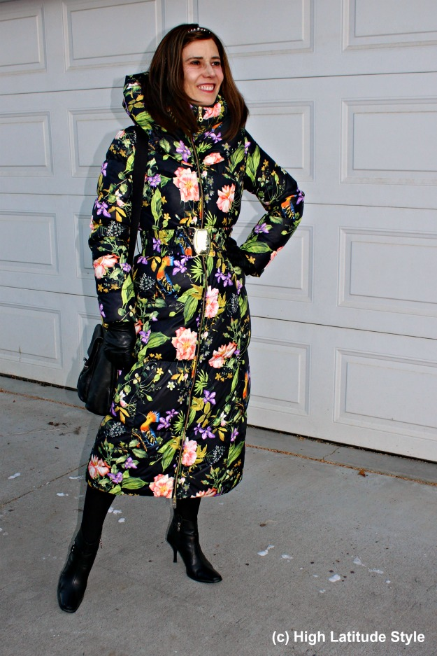 #fashionover40 woman in floral down coat