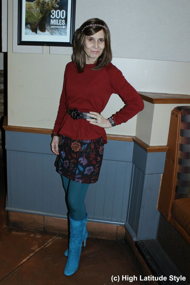 #maturestyle midlife woman looking chic in a mini skirt and tights