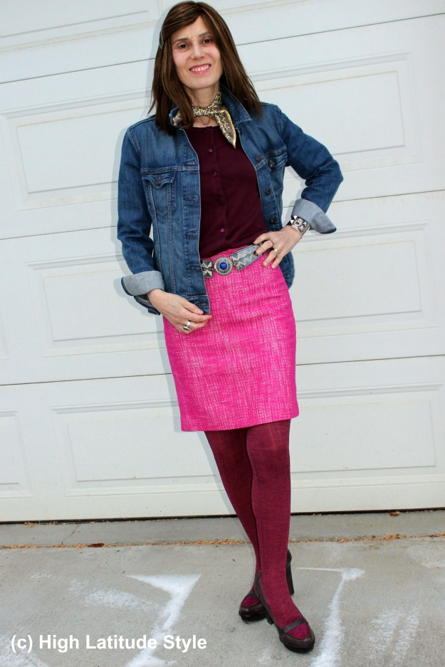 #fashionover50 Nicole in tweed skirt and denim jacket