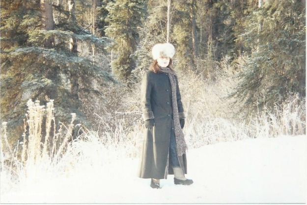 #fashionover40 woman standing in the yard in Alaska