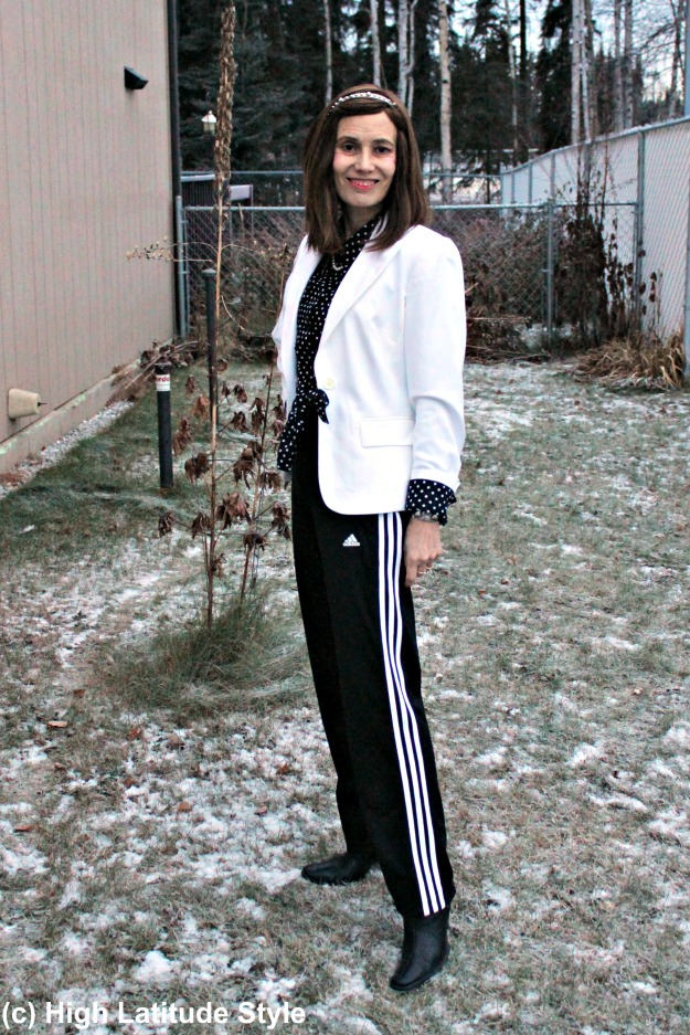 #fashionover50 midlife woman in Adidas pants and blazer