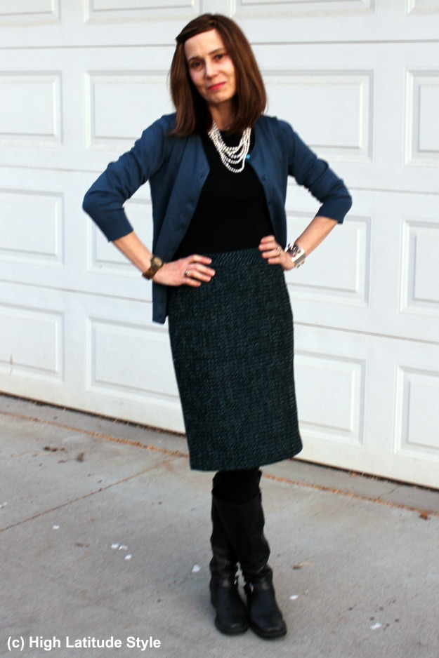 #fashionover40 Alaskan woman in fake twinset and tweed skirt
