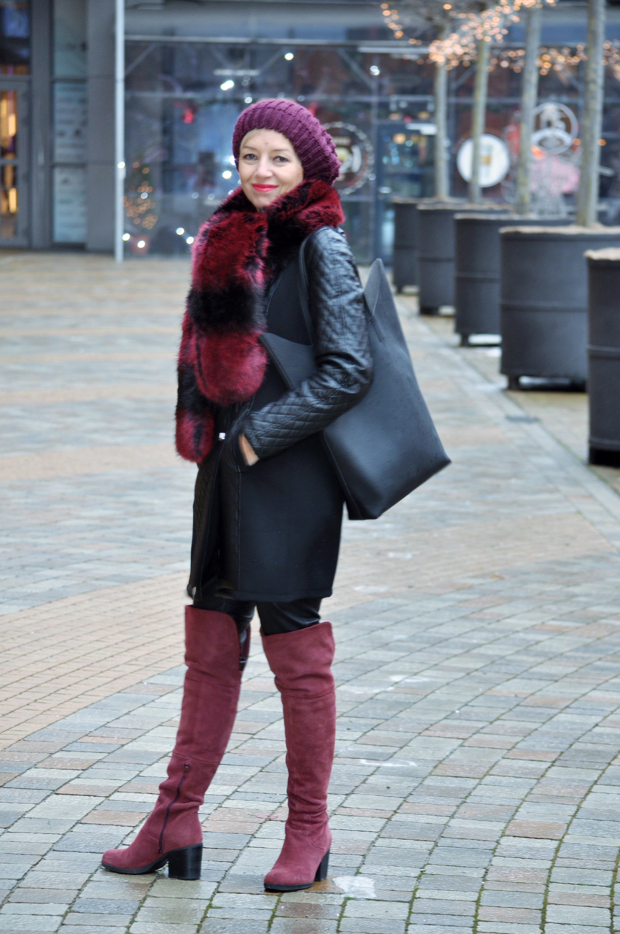 Polish style blogger Grazyna Wojden in styled winter outerwear