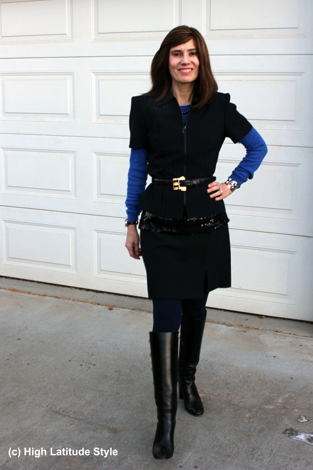 #agelesstyle woman in blue needle stripe skirt suit with a twist