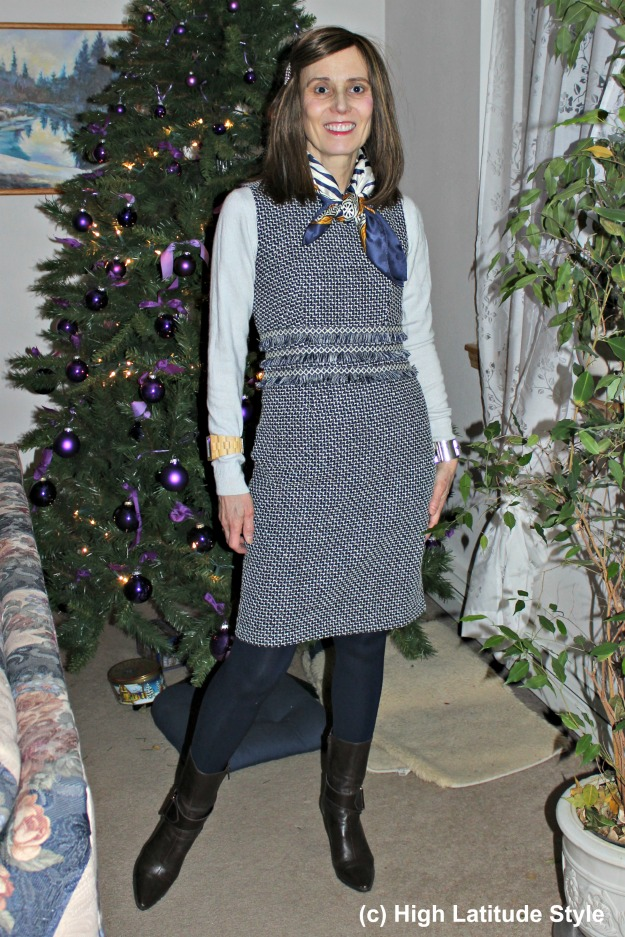 #fashionover40 woman in a sheath dress