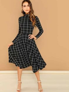 window panel black and white modest fit-and-flare midi dress