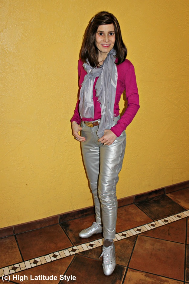 #fashionover50 woman wearing shiny pants for going to a sport bar