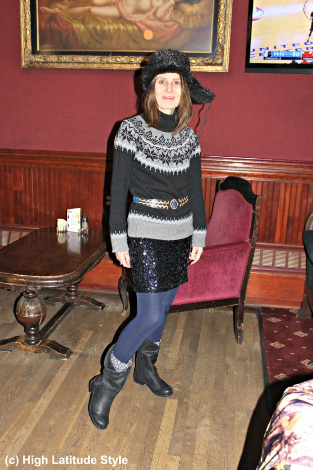 mature woman in streetwear sequin skirt with nubuk booties outfit inspiration