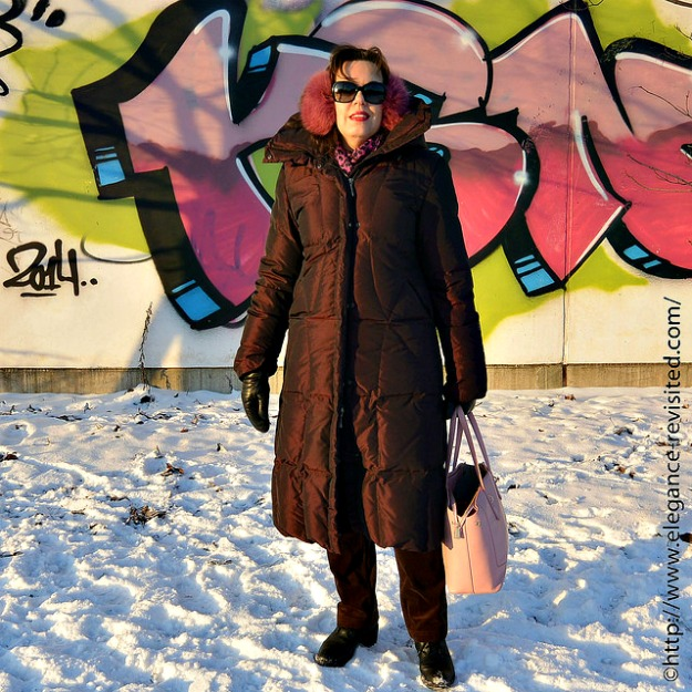 #midlifefashion Tiina in a chic monochromatic winter look with a down puffer coat