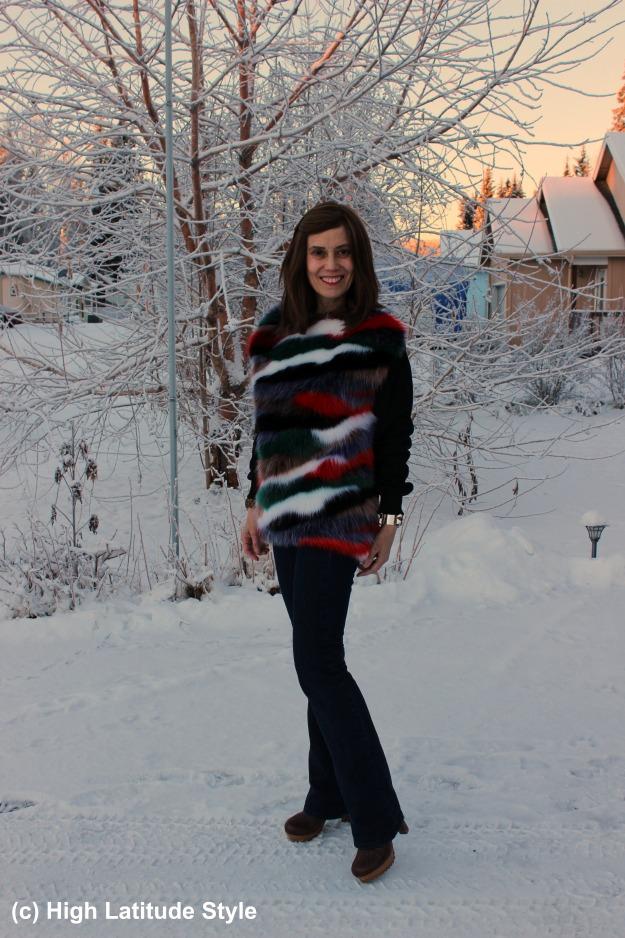 #fashionover40 woman in Zara sweater