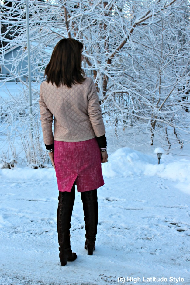 #fashionover40 Alaskan woman in winter office outfit