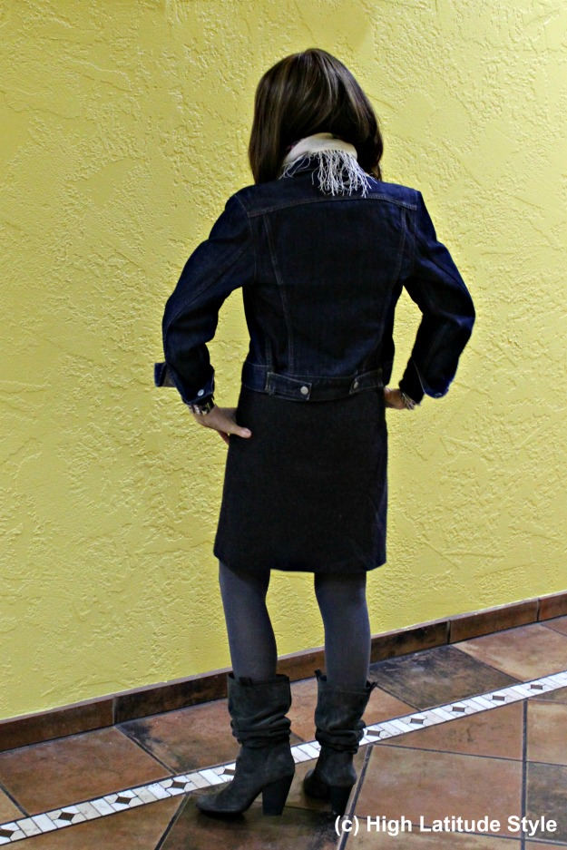 stylist in tweed skirt with denim jacket