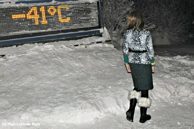 #fashionover40 woman in a winter work outfit in Alaska