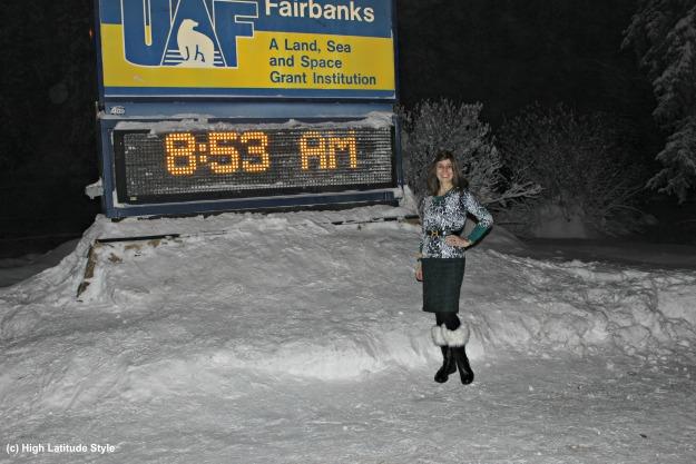 #fashionover50 woman in Fairbanks Alaska on a winter morning