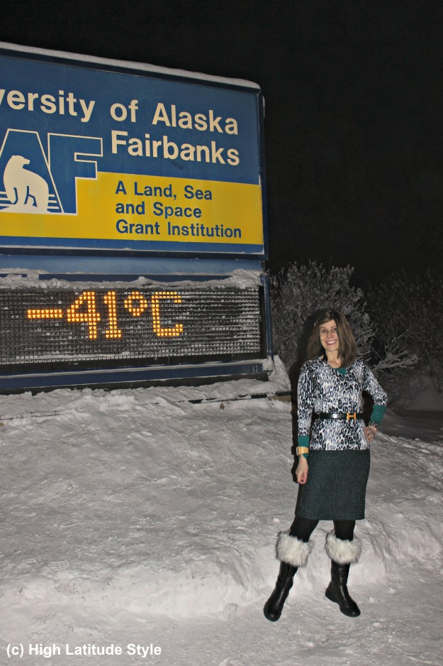 midlife style blogger in winter work outfit at -41C