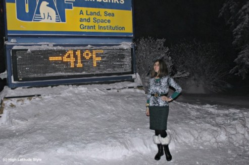 over 40 year old woman in winter outfit at -41F