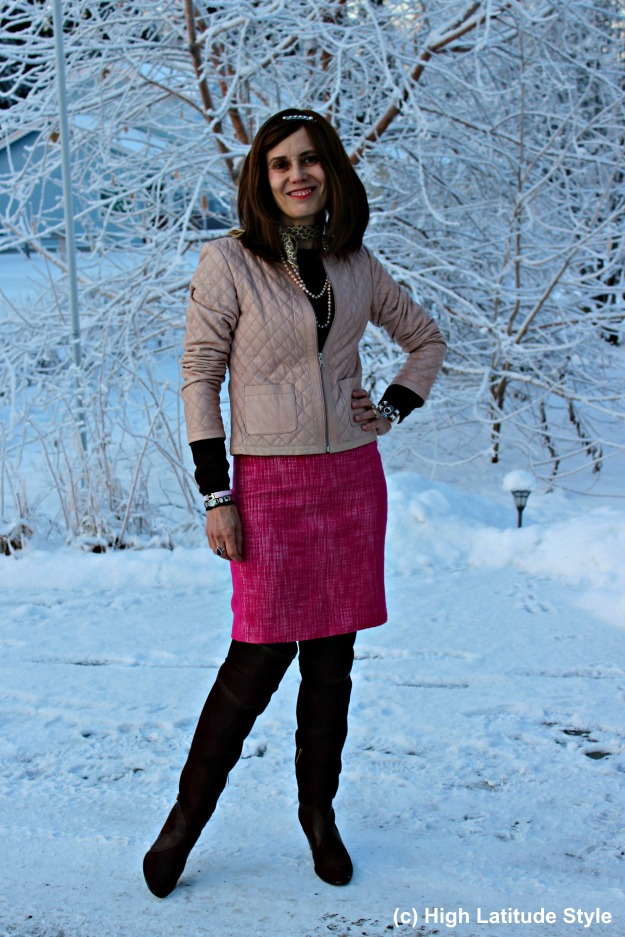 #fashionover40 Alaska fashion blogger in a winter weekend going out outfit
