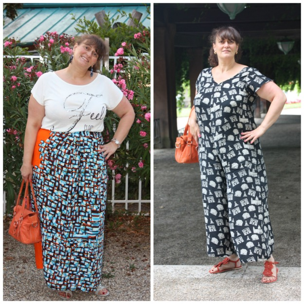 #fashionover50 woman in self-made wrap skirt (left) and jumpsuit