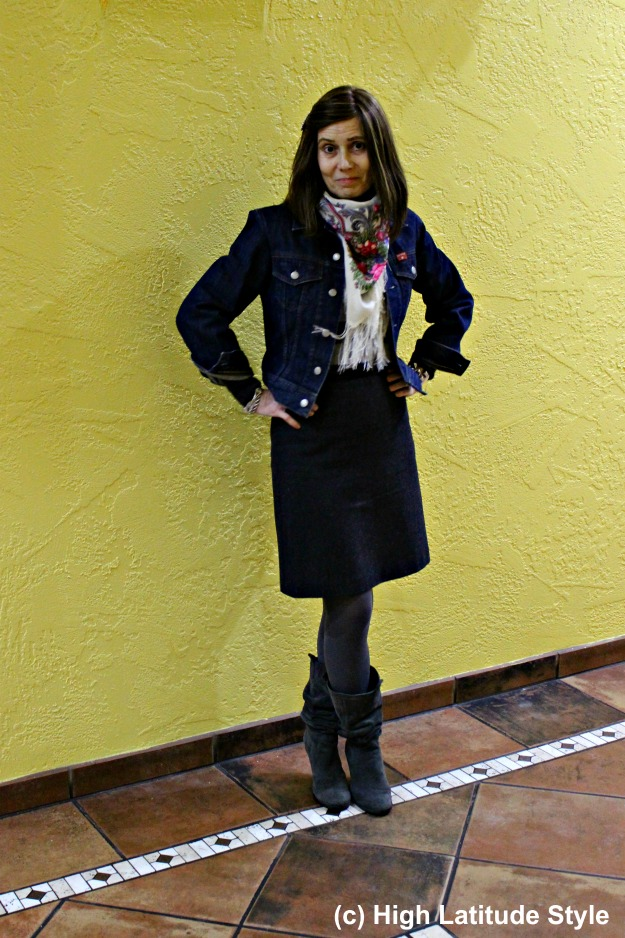 style blogger in winter work outfit with tweed skirt and denim jacket