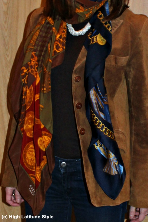 #accessoriesover40 two scarves in one outfit