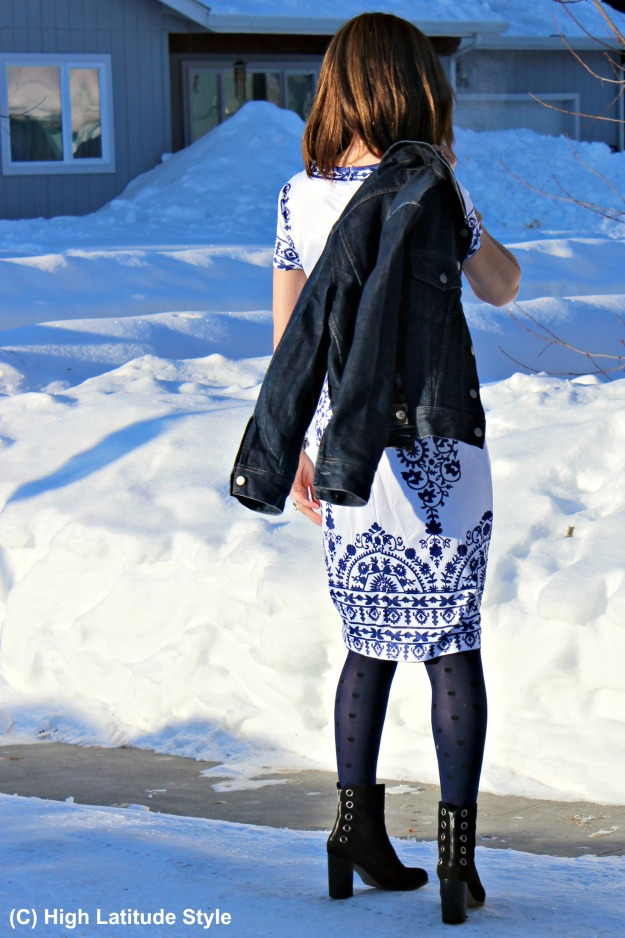 #fashionover50 woman in blue and white printed summer dress styled for spring