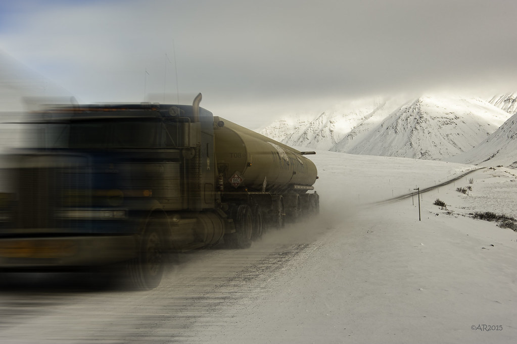 ice road trucker on the Dalton Hwy in Alaska