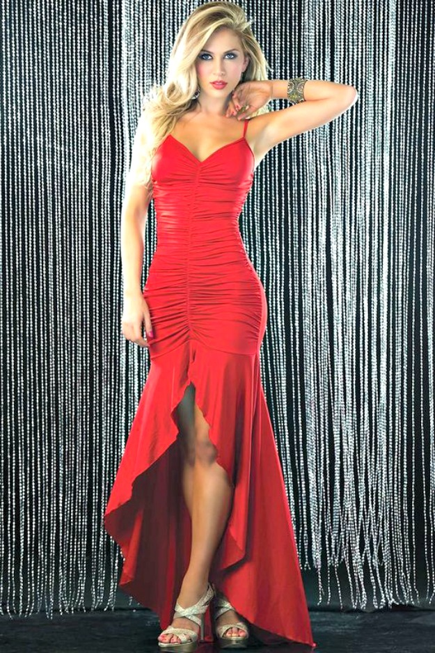 #styleover40 3 Wishes red ruched evening gown