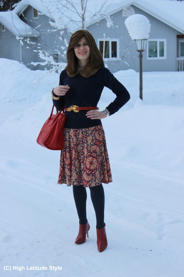 #fashionover40 dress worn as skirt with thrifted collar