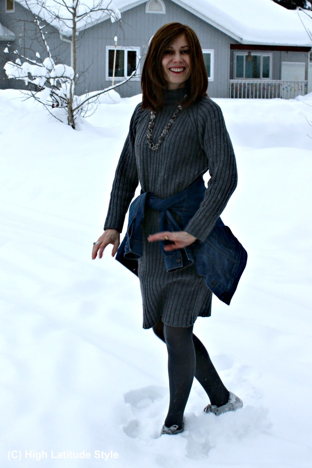 fashionover40 woman in warm casual winter look