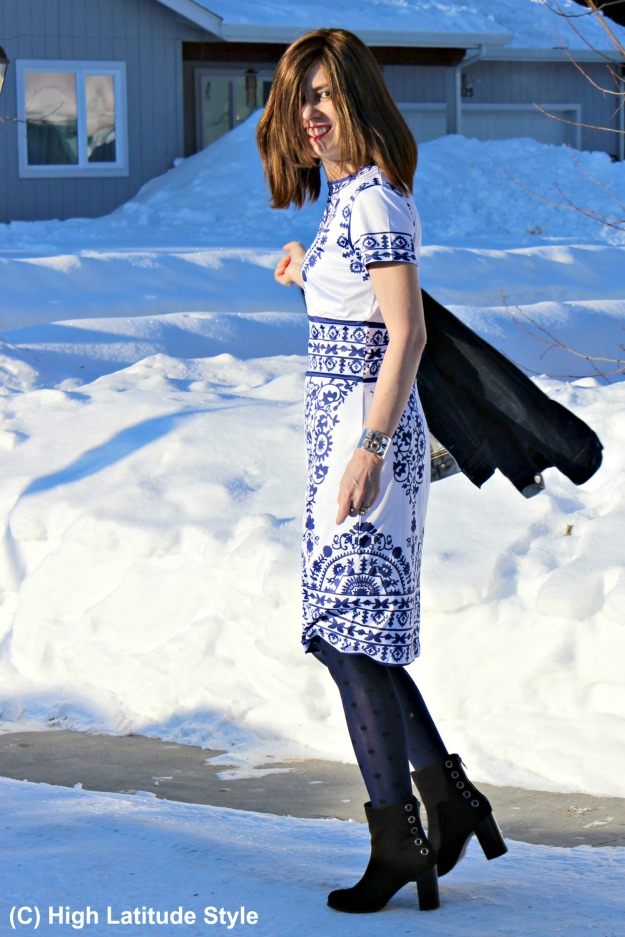 influencer in winter to spring transition look with a blue-white sheath