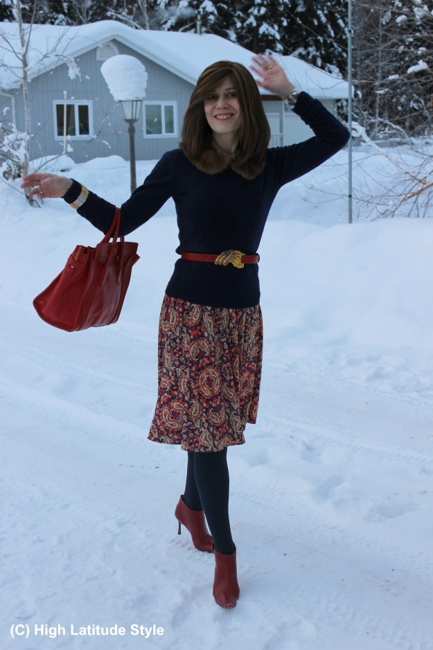 #styleover40 woman in winter work outfit with thrifted boots