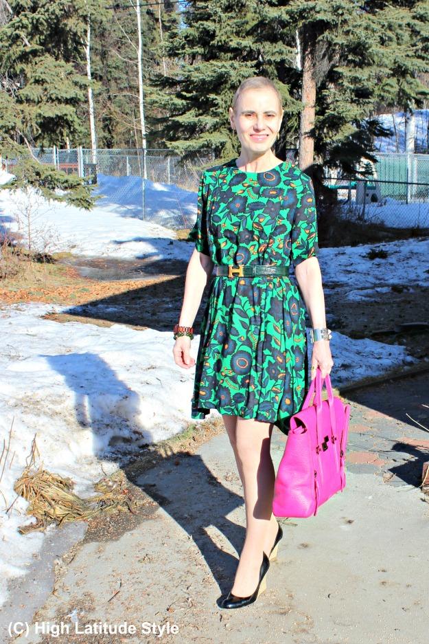 fashion in a fashion forward A-line dress summer office look