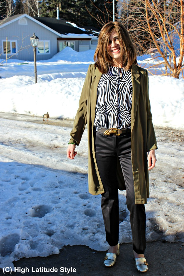 fashionover40 woman in trousers and coat