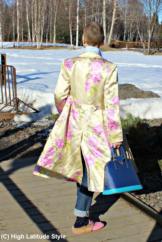 #styleover40 woman in chic floral coat