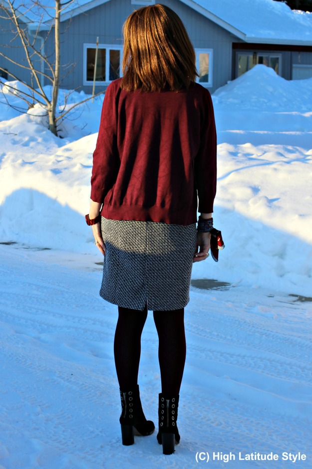 #maturestyle woman in sheath with cardigan and booties
