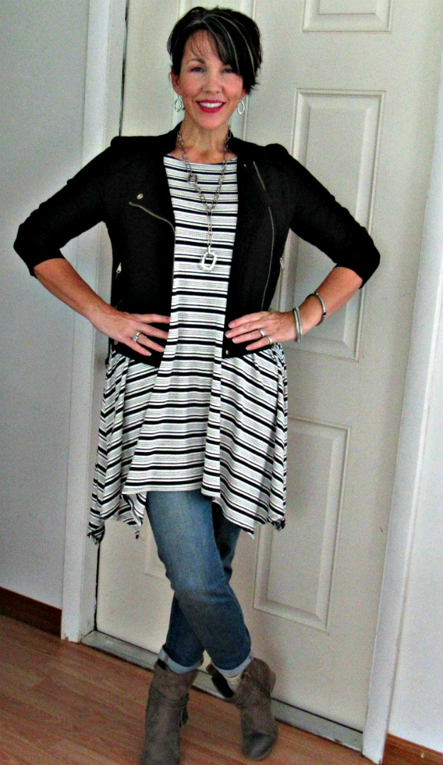 #maturestyle woman in dress-over-pants trend
