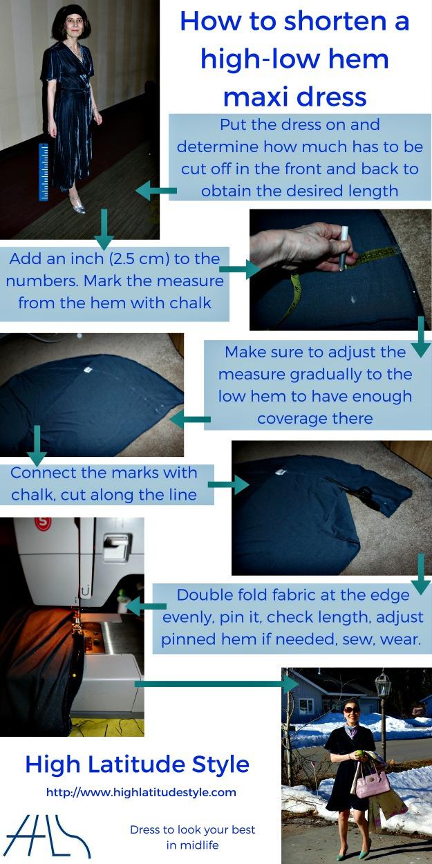 how to shorten a high low hem maxi dress