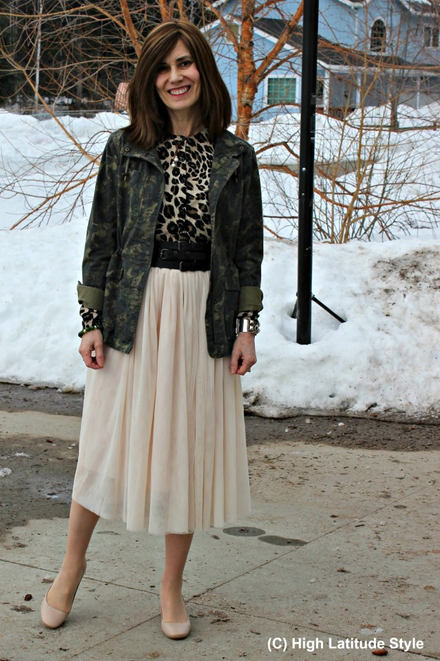 #fashionover40 beauty in Alaska street style with a net-skirt