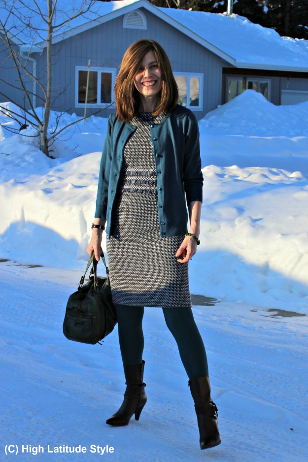 #fashionover50 woman in work outfit with sheath and cardigan